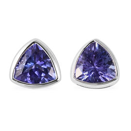 ILIANA 18K White Gold AAA Tanzanite Stud Earrings (with Screw Back) 0.84 Ct.