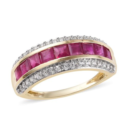1.85 Ct AAA Burmese Ruby and Natural Cambodian Zircon Eternity Ring in 9K Gold 2.50 Grams