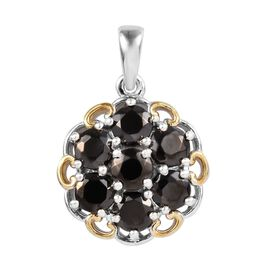 Elite Shungite (Rnd) Cluster Pendant in Platinum and Yellow Gold Overlay Sterling Silver 1.250 Ct.