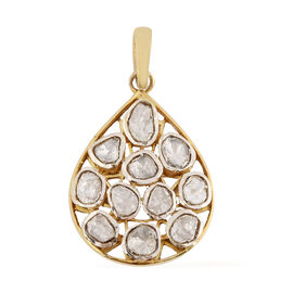 Artisan Crafted Polki Diamond Pendant in Gold Overlay Sterling Silver 1.35 ct, Sliver Wt. 5.25 Gms