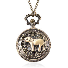 Set of 2 - STRADA Japanese Movement Elephant Pattern Pocket Watch with Chain (Size 31) in Antique Br