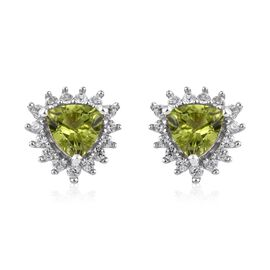 Hebei Peridot (Tri), Natural Cambodian Zircon Stud Earrings in Platinum Overlay Sterling Silver 2.00