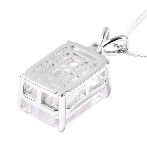 ELANZA Simulated Diamond Pendant With Chain in Platinum Overlay Sterling Silver, Silver wt. 8.29 Gms