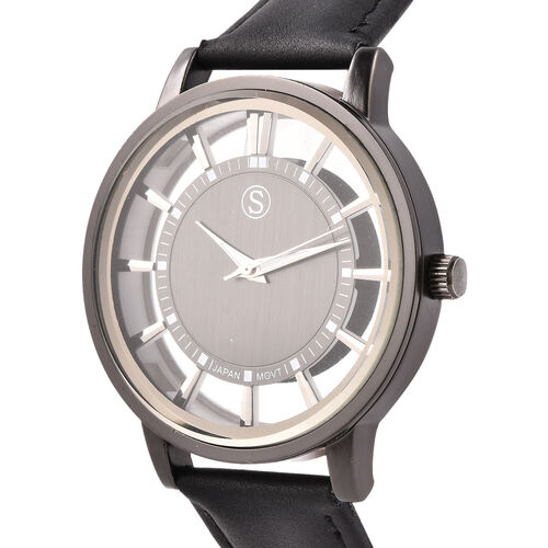 STRADA Japanese Movement Black Dial Water Resistant Watch with Black Colour Strap