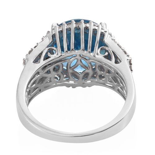 TJC Launch - Marambaia Topaz (Rnd 10.25 Ct), Natural Cambodian Zircon Ring in Platinum Overlay Sterling Silver 11.500 Ct. Silver wt 6.18 Gms.