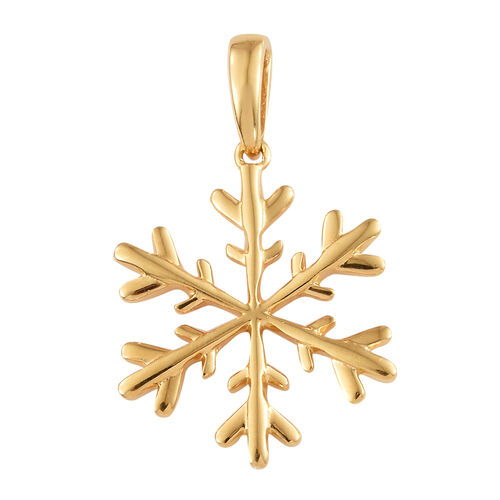 Snowflake Charm Pendant in Gold Plated 925 Sterling Silver