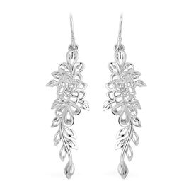 LucyQ Leaf Dangle Earrings in Plated Silver 6.23 Grams