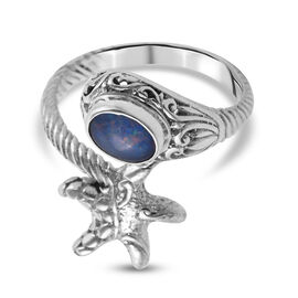 Royal Bali Collection Boulder Opal Bypass Ring in Sterling Silver