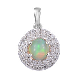 1.75 Ct Ethiopian Opal and Cambodian Zircon Halo Pendant in Platinum Plated Sterling Silver
