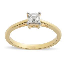 ILIANA 0.50 Carat Asscher Cut Solitaire Ring in 18K Gold IGI Certified SI GH