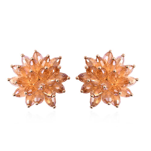 Simulated Champagne Dimaond Floral Stud Earrings (with Push Back) in Gold Tone