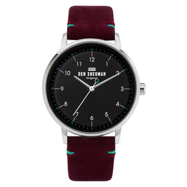 BEN SHERMAN Black Dial Watch with Mulberry Leather Strap