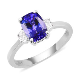 RHAPSODY 950 Platinum AAAA Tanzanite and Diamond Ring 1.65 Ct.