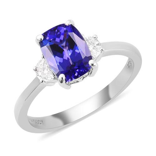 RHAPSODY 950 Platinum AAAA Tanzanite and Diamond Ring 1.65 Ct.