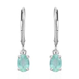 9K White Gold  Boyaca Colombian Emerald (Ovl) Lever Back Earrings 0.900  Ct.