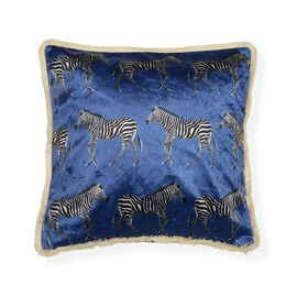 Designers Digitally Printed Silky Velvet Zebra Cushion Cover with Fringes (Size 43x43cm) - Blue