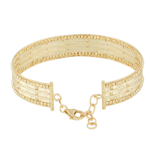 Italian Made 9K Yellow Gold Diamond Cut Bangle (Size 7 with 1 inch Extender), Gold wt. 11.40 Gms.