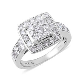 NY Close Out Deal- 14K White Gold Diamond (Rnd) (I1-I2/G-H) Ring 1.53 Ct, Gold wt 4.90 Gms