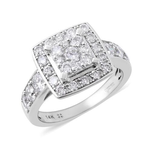 NY Close Out Deal- 14K White Gold Diamond (Rnd) (I1-I2/G-H) Ring 1.53 Ct, Gold wt 4.90 Gms
