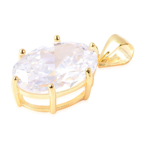 ELANZA- Swiss Star Cut Cubic Zirconia (Ovl 14x10mm) Solitaire Pendant  in Yellow Gold Plated Sterling Silver