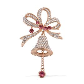 Pink and White Austrian Crystal (Rnd) Christmas Bell Brooch in Gold Tone