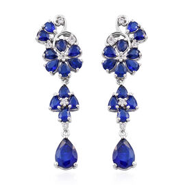 6 Carat Blue Spinel and Cambodian Zircon Floral Drop Earrings in Sterling Silver 5.06 Grams