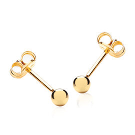 9K Yellow Gold Stud Earrings (with Push Back)