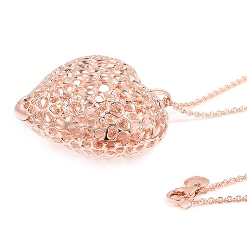 RACHEL GALLEY Rose Gold Overlay Sterling Silver Amore Heart with Pebble Heart Inside Pendant with Chain (Size 30), Silver wt. 32.40 Gms.