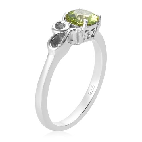 Hebei Peridot Zodiac-Leo Ring in Platinum Overlay Sterling Silver 0.83 Ct.