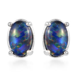 One Time Deal- Australian Boulder Opal Solitaire Stud Earrings (with Push Back) in Sterling Silver