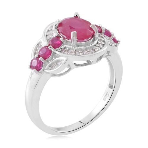 Designer Inspired- African Ruby (Ovl 2.75 Ct), Burmese Ruby and Natural White Cambodian Zircon Ring in Rhodium Plated Sterling Silver 4.150 Ct. Silver wt. 5.11 Gms.
