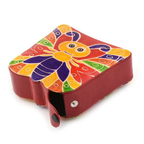 100% Genuine Leather Red and Multi Colour Hand Painted Butterfly Shape Money Bank (Size 13x4 Cm)