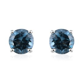 London Blue Topaz (Rnd) Stud Earrings (with Push Back) in Platinum Overlay Sterling Silver 2.00 Ct.