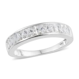 J Francis - Sterling Silver (Bgt) Half Eternity Ring Made with SWAROVSKI ZIRCONIA