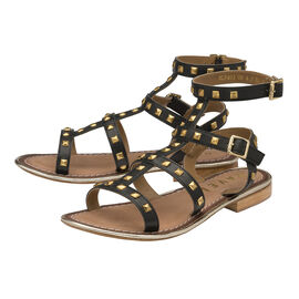 Ravel leather gladiator sandal with stud detailing and double strap ankle fastening.