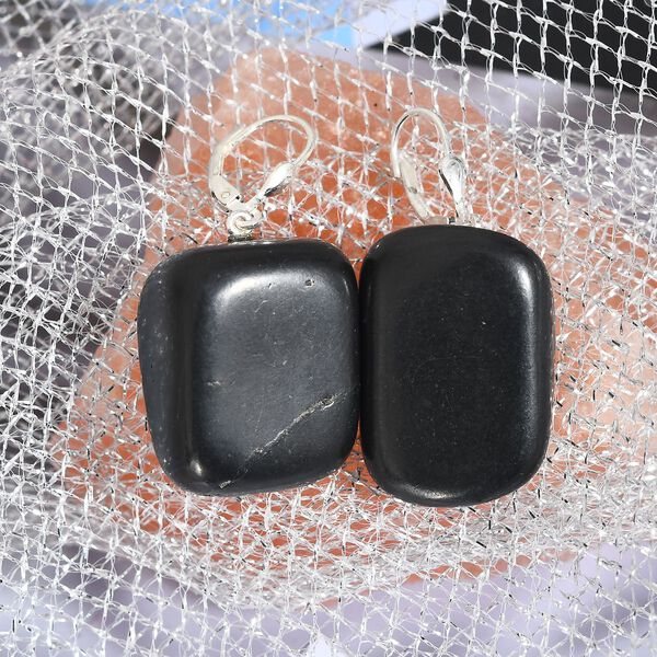 Artisan Crafted Shungite Lever Back Earrings in Sterling Silver 85.00 Ct.