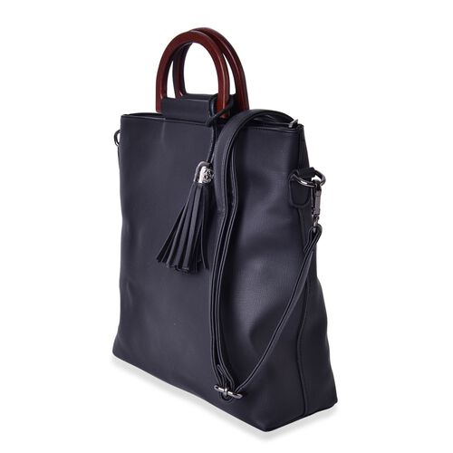 Wooden Handle Black Tassels Tote with Adjustable and Removable Strap (Size 29x29x9 Cm)