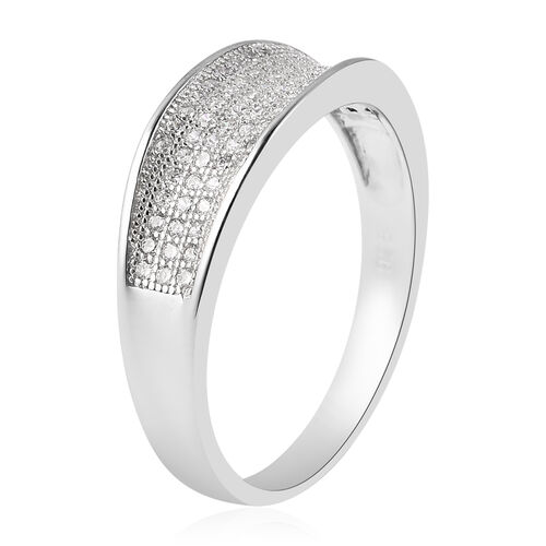 ELANZA Simulated Diamond Cluster Ring in Rhodium Overlay  Sterling Silver