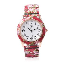 STRADA Japanese Movement Water Resistant Floral Printed Watch  in Rose Gold Tone - Red