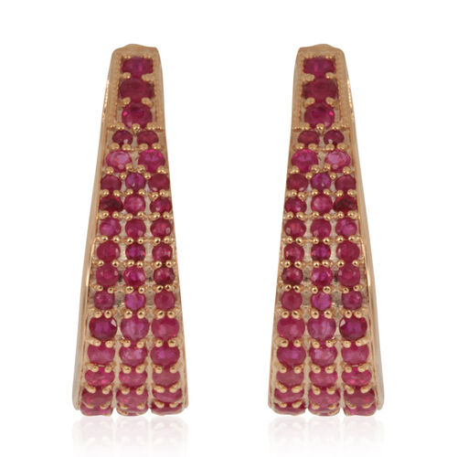 Burmese Ruby (Rnd) Earrings (with Clasp) in 14K Gold Overlay Sterling Silver 3.510 Ct.