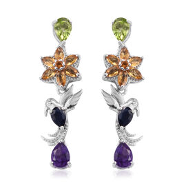 GP Citrine (Mrq), Multi Gemstone Earrings (with Push Back) in Platinum Overlay Sterling Silver 4.950 Ct, Silver wt 7.25 Gms.