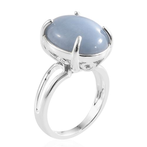 Mexican Angelite (Ovl) Ring in Sterling Silver Ring  8.000 Ct, Silver wt 4.67 Gms.