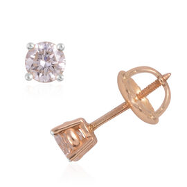 ILIANA 0.50 Carat Diamond Solitaire Stud Earrings in 18K Gold With Screw Back