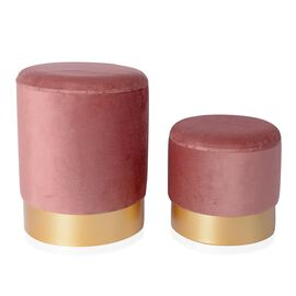 Set of 2 - Wooden Stool with Storage Box (Size L 35x35x44 Cm), (Size S 30x30x33) - Dusky Pink