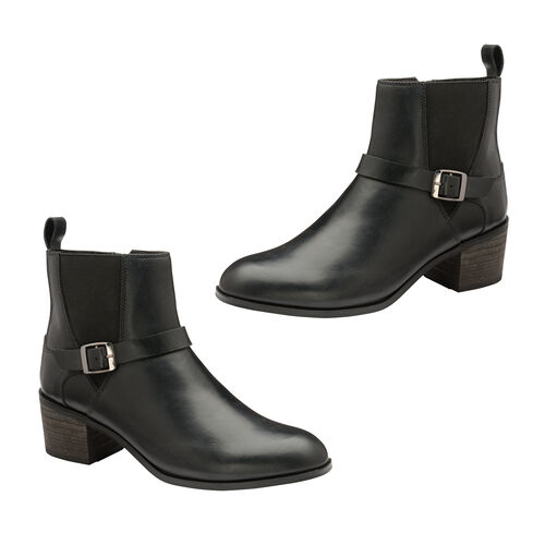 Ravel Kingsley Gusset Ankle Boot with Buckled Strap (Size 3) - Black