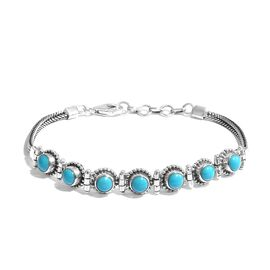 Super Aucton - Artisan Crafted Arizona Sleeping Beauty Turquoise (Rnd) Bracelet (Size 7.5 with Exten