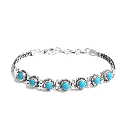 3.59 Ct Sleeping Beauty Turquoise Bracelet in Silver 10.28 Grams 7.5 With Extender