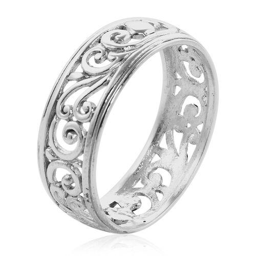 Royal Bali Collection - Sterling Silver Filigree Swirl Vine Band Ring
