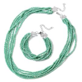 2 Piece Set - Emerald Colour Beads and Austrian White Crystal Necklace (Size 20 with 1.5 inch Extend