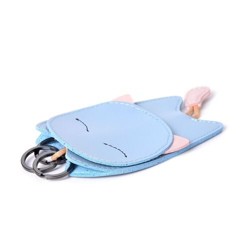 Blue and Pink Colour Cat Design Bag with Key Ring Holder (Size 14X7.7 Cm)